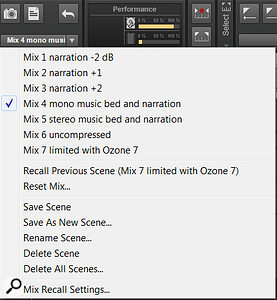 In addition to the Control Bar shortcuts, a  drop-down menu offers more options for managing Mix Recall.