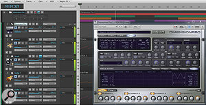 Dimension Pro is set up to play four REX files at once, as triggered by each REX file's associated MIDI sequence.