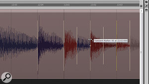The notes around the start of measure 13 now land on the beat. Red waveforms have been compressed, while blue ones have been stretched. Dark colours indicate slight time–stretching; lighter colours indicate heavier time–stretching.