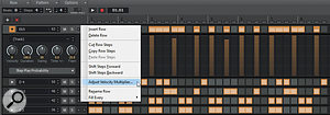 The Step Sequencer has several features that can add interest to your patterns.