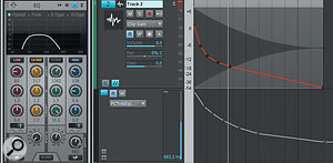 A fade was added to a file of white noise; Clip Gain automation is refining the curve further. The automation lane controls the ProChannel's low-pass filter frequency. Note how, at the point indicated by the Now time, the filter has already closed down quite a bit. Rolling off the lows around 70Hz gets rid of 'mud'.