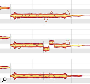 The top blob is the original held note, and the middle one has been split where the vibrato got nasty. Note how Melodyne has detected that the average pitch of each segment has changed. The lower blob has been pitch-corrected and also has reduced vibrato.