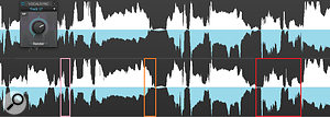 The blue is the 'guide' track, and the white, the 'dub' track (these have been coloured for clarity). The lower waveform shows the uncorrected version. Note how the dub-track note outlined in pink ends too soon, the note outlined in orange is too long, and the notes outlined in red have transients that are way off compared to the guide track. The upper waveform shows the post-VocalSync processing.