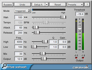 This shows suggested Wahwah settings for a mixed drum track.