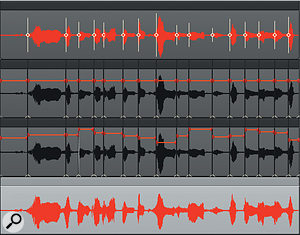 The top track is the original vocal, with AudioSnap transient markers in place. The next track down shows the clip after being split, with each clip's Gain Automation envelope. The next track shows the gain adjustments, and the bottom track shows the levelled vocal.