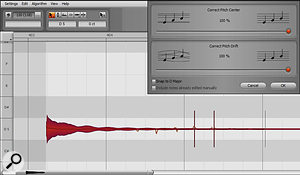If you see vertical lines in the middle of notes, listen carefully after using Melodyne pitch-correction to make sure there aren't any audible discontinuities.