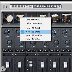 Right-click on a  pad in the Mixer page to assign a  particular drum to that pad.