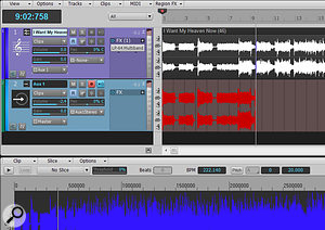Here, the Loop Construction View audio is being transposed up by 20 cents, and aux track 1 is recording the transposed sound in real time.