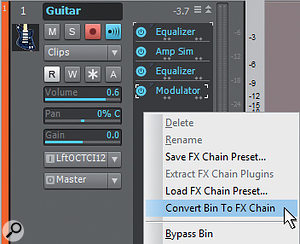 After inserting the effects you want to use in an FX Chain, right-click within the FX Bin and choose 'Convert Bin To FX Chain'.