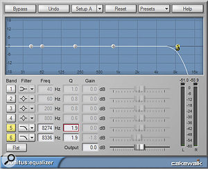 With the Sonitus:fx Equalizer, bands five and six are given identical settings, to create asteeper high‑frequency cutoff.