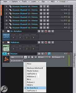 You can place track pairs from Reason instruments into track folders, with the tracks panned oppositely, to help organise your Reason tracks.