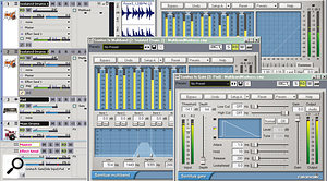 In this setup, the main drums are intended to trigger the gate in apad. However, the drum sound is too busy, so it's been cloned to two other tracks, which are dedicated 'triggering tracks' that have been set up to isolate only the kick's beater sound and the snare.