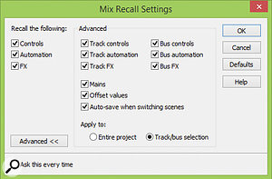 The advanced setting available in Mix Recall.