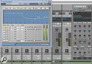 You can substitute the ProChannel EQ for the Sonitus EQ in pre‑X1 projects, but you'll need to transfer parameter values manually. Here atrack has been cloned, and the ProChannel EQ settings are being adjusted to match those of the original Sonitus EQ.