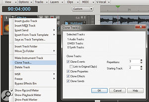 This dialogue box makes it easy to create multiple versions of the same track, which is ideal for multi‑band processing. In this screen shot, the track is being cloned three times, starting with track two.