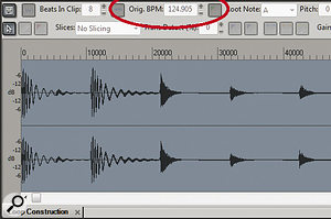 You can determine aclip's native tempo in the Loop Construction window by referring to the Orig. BPM parameter.
