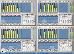 Here we can see the Sonitus Multiband compressor settings for our four cloned guitar tracks.