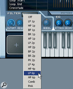 The Filter itself is the usual multi-mode affair found in Cakewalk instruments, with 16 different filter responses. Here, the Low Pass 6‑Pole response is being selected.
