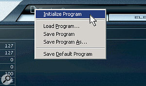 The context menu that appears when you click on the file icon is the key to program management.