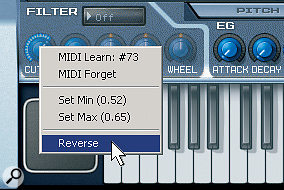 A knob's context menu controls the MIDI Learn function. Here, reverse is being selected.