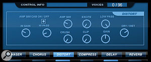 Within the effects section, the Distort effect includes auseable amp simulation and can create arange of distortion types to add warmth, fizz or crunch.