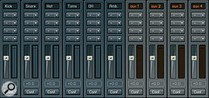 The outputs from all the different mics in the kit are submixed to six channels in Kontakt Player's mixer, and from there they can be assigned to individual channels in your sequencer for mixdown. You can also add in further effects from Kontakt's own arsenal of processors if you like.