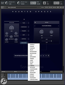 Users can select any six effects from a menu of 21 to form their insert chain and also have a separate convolution reverb available at all times.