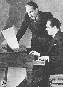 Maurice Martenot (seated) and composer Pierre Vellones with an Ondes Martenot, 1936.