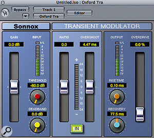 Transient Modulator offers some unusual controls, including 'Dead Band', which forces the plug–in to ignore transients that would only result in a small amount of processing.