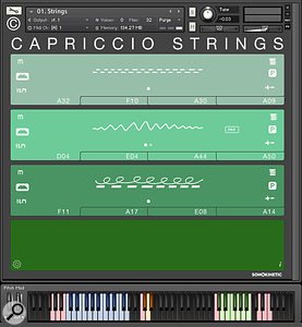 Regular Sonokinetic users will recognise Capriccio's GUI design of broad colour-coded stripes. Phrases are triggered by playing a  triad in the 'chord recognition area' represented by the blue keys. All sections now contain high, mid and low phrases.