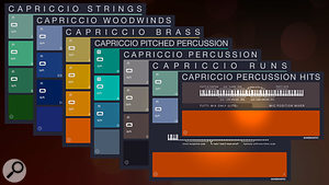 Capriccio's patches comprise strings, woodwind and brass sections, pitched percussion, percussion phrases, string and woodwind runs, and percussion hits.