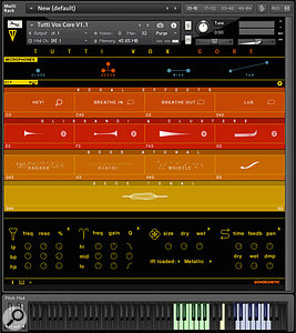 Another view of Tutti Vox Core, with a  different set of samples loaded, and effects panel exposed.