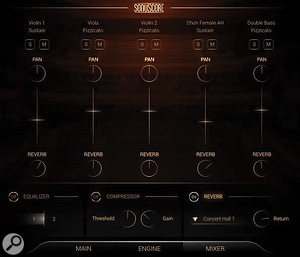 The Mixer page, with controls for the level, pan, reverb send level, solo and mute status of each layer. Reverb is the only effect engaged here.