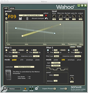 Previously unheard-of effect combinations are possible, like this wah twinned with arandom waveform LFO-driven filter.