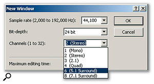 When you create a new recording, a range of channel formats can be specified.