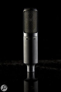 The microphone has switches for polar-pattern selection, a 10dB pad and a low-cut filter.
