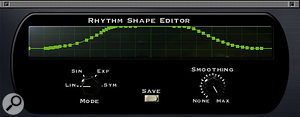 Not only can you define the exact wave shape Tremolator uses to modulate your audio, you can also create rhythmic patterns.