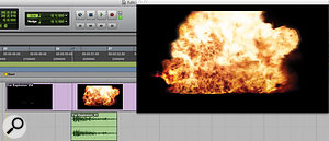 In the first screenshot here, an explosion sample has been used to accompany the on-screen picture of an explosion. Yet, while this is successful in making the viewer think that the sound and image are one, it's missing a huge opportunity to enhance the event with more complex layers of sound, as shown in the second screenshot.