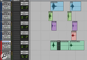 Sound design usually requires some pretty intensive editing work, and it can help to have a'scratch track' on which to make your edits before placing the comped sound in its own place within the soundscape.