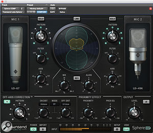 Engaging Dual mode allows you to blend the signal from two different modelled microphones, and also reveals the controls for Off Axis Correction, lower left.