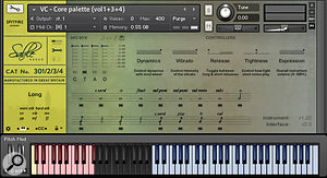 The BMI Kontakt GUI contains a  microphone mixer, performance controls and the 'articulation stanza'. To load or unload articulations, simply click on the small rectangle positioned underneath each note icon. Keyswitches (marked in pink) allow on-the-fly changes between the different playing styles.