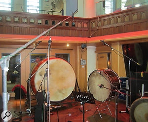 A giant taiko drum almost dwarfs an orchestral bass drum.