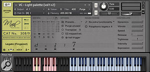 Mural's Kontakt GUI 'Expert panel', showing a  'light' palette of four articulations, the five–way microphone mixer and various controllers. Select the articulation you want by pressing one of the pink keyswitches.