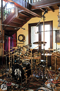 Roger Taylor's kit miked up in the stairwell.