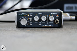 The SoundField comes with a  portable control unit which supplies power to the mic and contains a  closely matched four-channel preamp. It also features a  simple B-format decoder, but since I  was recording the B-format signal for later decoding in software, this was not used on the Spooky Men session.