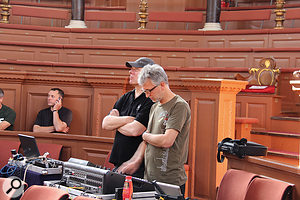 Front–of–house engineer Dave Lockwood (left) and the Spooky Men's Chorale's touring engineer.