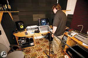 Paul White in his natural habitat, using the KRK Ergo room–correction system.