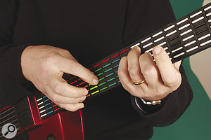 Unlike a real guitar, the Ztar will allow you to play more than one note per 'string', creating interesting possibilities with combinations of conventional 'fretting' and right‑hand tapping styles.