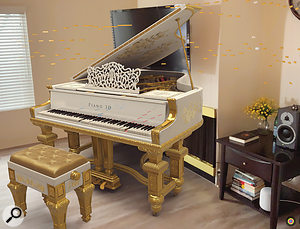 I always thought my living room was missing a baby grand piano! Here you can see Piano 3D position a grand piano in a space and perform in situ — all I need now is a candelabra!