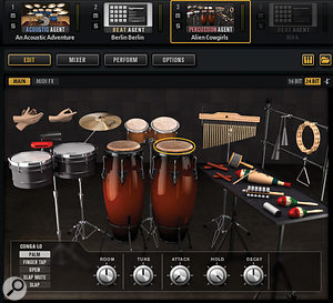 As well as acoustic and electronic drums, GA5 also includes percussion instruments via the Percussion Agent.